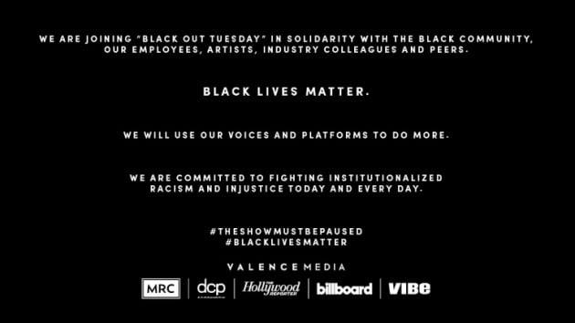 미국 빌보드 공식 홈페이지에 올라온 '블랙 아웃 튜스데이' 동참 설명문.