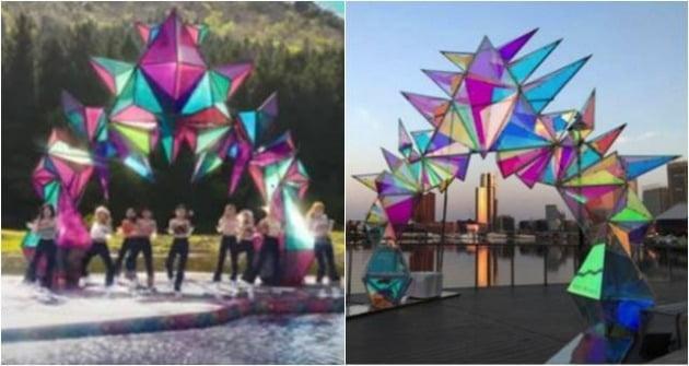 그룹 트와이스 'MORE & MORE' 뮤직비디오 캡처(왼쪽), 조형예술작가 Davis McCarty SNS 캡처.