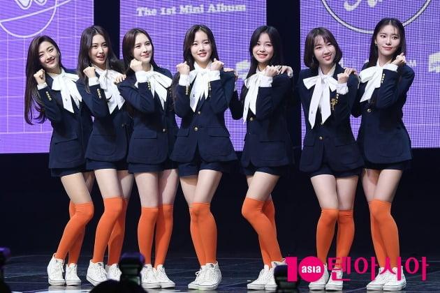 그룹 위클리의 수은(왼쪽부터), 조아, 이재희, 수진, 지한, 신지윤, 먼데이   / 이승현 기자 lsh87@
