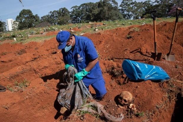 브라질에선 최근 코로나19 사망자가 급증하면서 매장 공간이 부족해지자 3년 이상 지난 무연고 무덤을 파내 유골을 비닐백에 옮기고 코로나19 사망자를 묻는 일까지 발생하고 있다.  상파울루에서 지난 12일 공동묘지 직원이 무덤에서 유골을 거두고 있다.  사진=AP