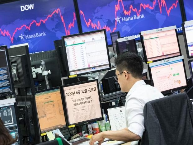 12일 오전 서울 중구 하나은행 명동점 딜링룸에서 한 직원이 경제관련 뉴스를 읽고 있다. 이날 코스피와 코스닥은 미국 뉴욕증시 폭락 영향으로 4% 이상 하락세를 보이며 장을 시작했다. 사진=뉴스1