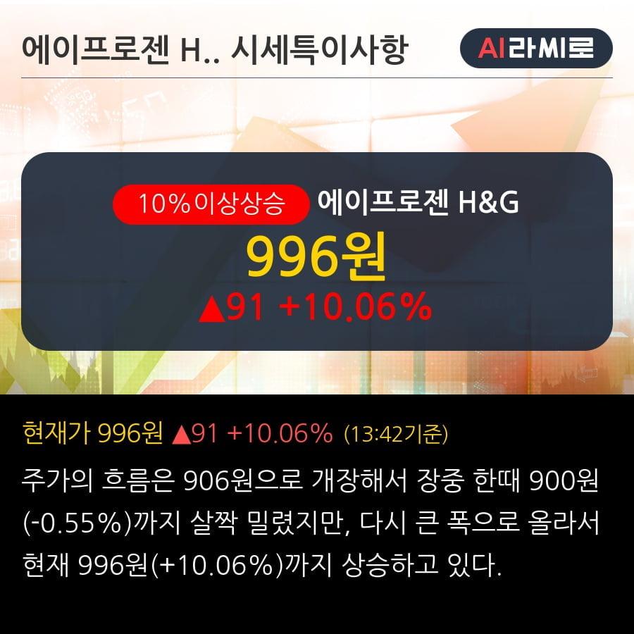 '에이프로젠 H&G' 10% 이상 상승, 전일 외국인 대량 순매수