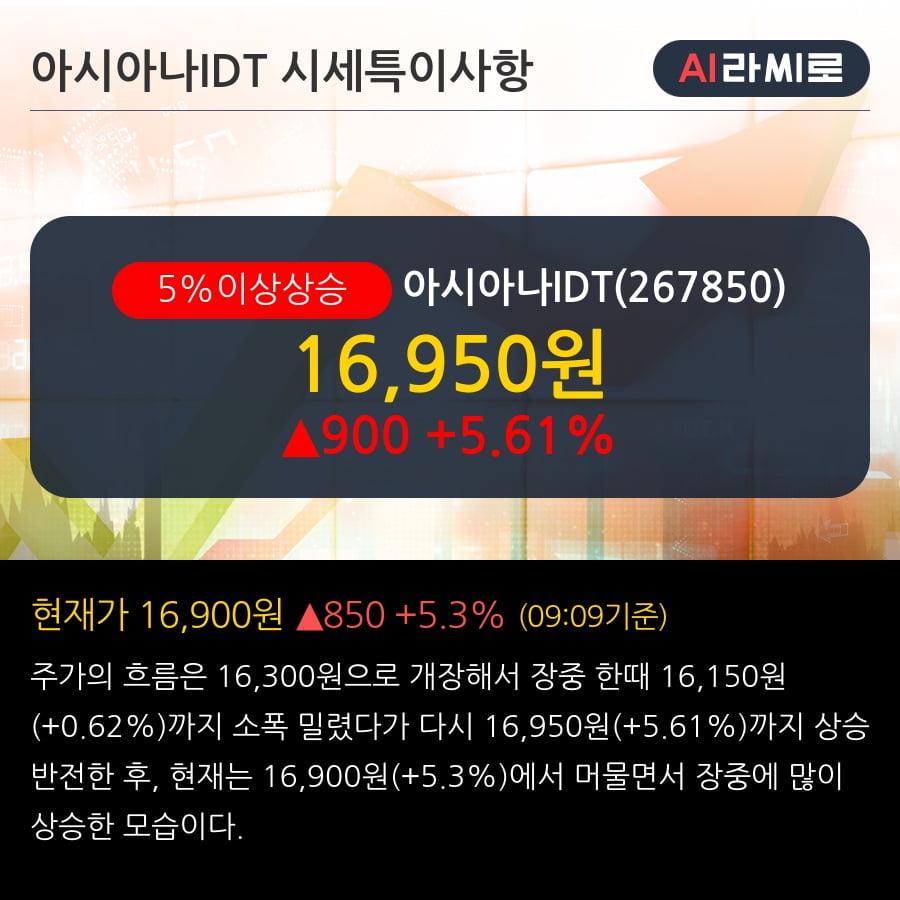 '아시아나IDT' 5% 이상 상승, 아시아나그룹 매각 여부에 주목