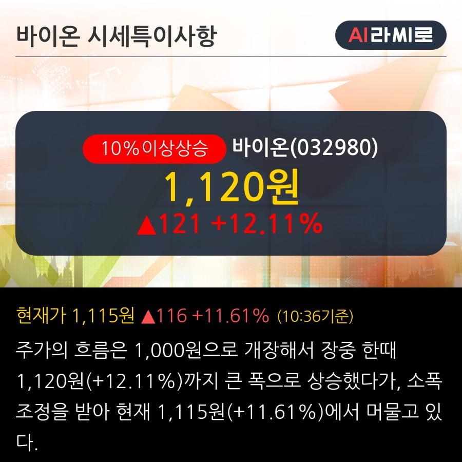 '바이온' 10% 이상 상승, 주가 5일 이평선 상회, 단기·중기 이평선 역배열