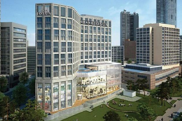 신세계조선호텔이 다음달 25일 부산 해운대에 새 5성급 호텔 브랜드 '그랜드 조선'의 첫 지점을 선보인다.  사진은 그랜드 조선 부산 호텔 조감도. 사진=신세계조선호텔 제공