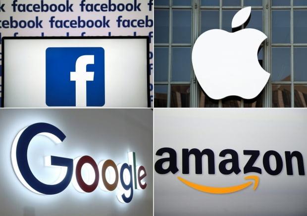 (왼쪽 상단부터 시계방향으로) 페이스북, 애플, 아마존, 구글 로고. 연합뉴스