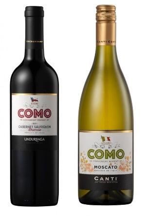 이마트는 단독 와인 브랜드 '꼬모'(C0MO)를 출시했다고 5일 밝혔다. 왼쪽부터 꼬모 까르베네쇼비뇽, 꼬모 모스카토. 사진=이마트24 제공