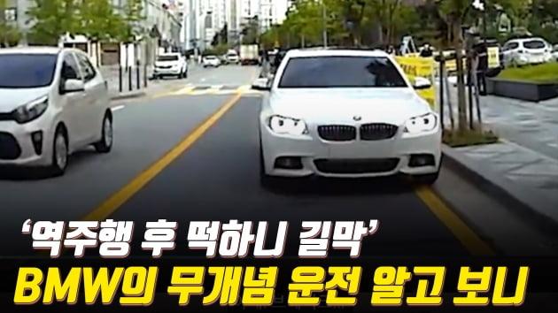 [아차車] '역주행 후 길막' BMW 무개념 운전 이유 알고 보니