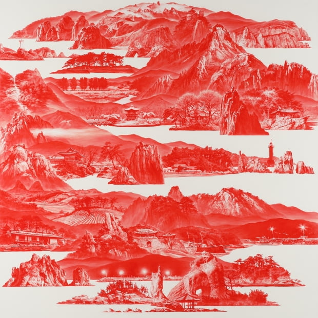 이세현, Between Red - 020JAN01, 2020, Oil on linen, 150x150cm. 아뜰리에 아키 제공