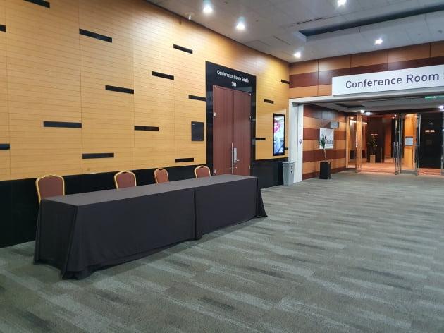 24일 코엑스의 한 컨벤션홀. 국제 회의 및 행사가 자주 열리던 이곳은 최근 인적이 드물다. 사진=신현보 한경닷컴 기자