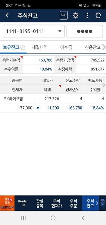 7월 15일 SK바이오팜 주가 수익률은 -18.84%까지 곤두박질쳤습니다. 재매수한 뒤 주가가 연달아 내려간 영향이었죠. (사진 = 고은빛 기자)