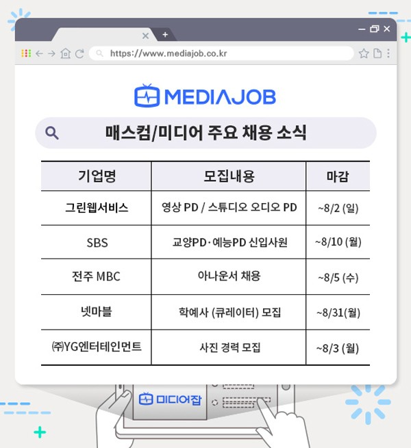 SBS 교양·예능PD, YG 포토그래퍼 8월 채용