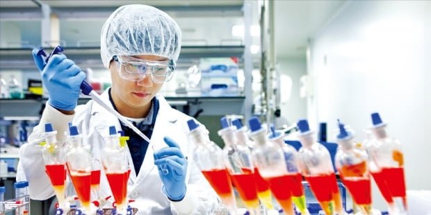 SK바이오사이언스의 한 연구원이 지난 18일 경기 성남 연구소에서 코로나19 백신 연구에 몰두하고 있다. /사진=SK바이오사이언스