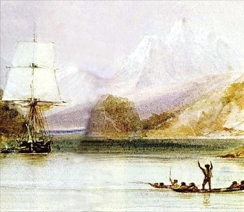 티에라 델 푸에고를 항해하는 비글호.   위키피디아에서 재인용