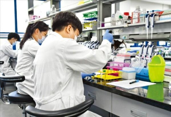 에스씨엠생명과학 연구원들이 인천 연구소에서 약물 실험을 하고 있다.  에스씨엠생명과학  제공