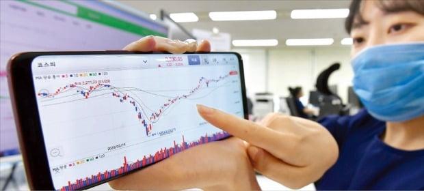 2023년부터 주식과 펀드의 차익에 대해 과세할 때 기본공제 금액은 5000만원으로 정해졌다. 22일 한 투자자가 직장에서 휴대폰으로 주식 시세 차트를 보고 있다.  /김영우 기자 youngwoo@hankyung.com