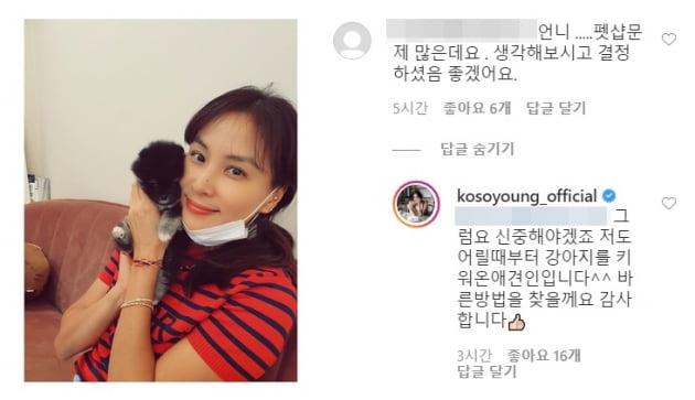 배우 고소영(왼쪽)과 그의 SNS 댓글  /사진= 고소영 인스타그램