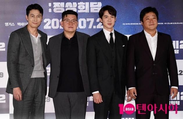 배우 정우성(왼쪽부터), 양우석 감독, 유연석, 곽도원이 '강철비2' 언론시사회에 참석했다. / 사진=텐아시아DB