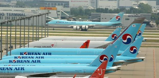 지난 7일 인천국제공항에 멈춰선 대한항공 항공기들. 사진=연합뉴스