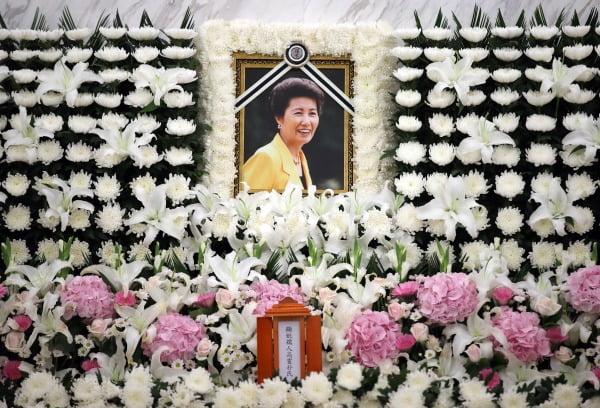 8일 오후 서울 신촌세브란스병원 장례식장에 마련된 박근혜 전 대통령의 이복언니인 박재옥 씨의 빈소에 고인의 영정이 놓여 있다. 사진=연합뉴스