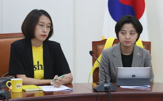 지난 9일 정의당 의원총회에 참석한 장혜영 의원(왼쪽)과 류호정 의원. / 사진=뉴스1