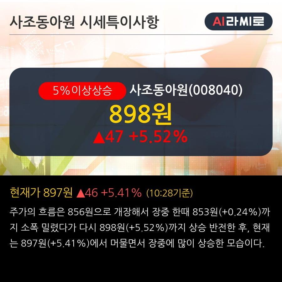 '사조동아원' 5% 이상 상승, 주가 60일 이평선 상회, 단기·중기 이평선 역배열