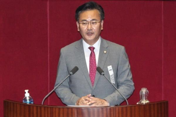 유상범 미래통합당 의원이 4일 오후 서울 여의도 국회에서 열린 제380회국회(임시회) 제8차 본회의에서 공수처법 반대 토론을 하고 있다. /사진=뉴스1
