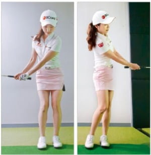 짧은 어프로치는 스윙 크기로만 조절하는 것이 유리하다. 김혜윤의 경우 10m 어프로치는 클럽과 지면이 직각이 될 정도로만 들어 백스윙을 한다. 폴로스루도 같은 높이에서 멈춘다.