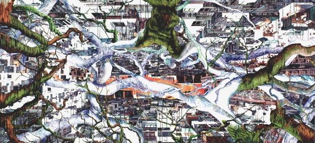 진 마이어슨의 'BROADACRE', 2013-14, Oil on canvas, 188x410cm. 조현화랑 제공