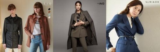 지오송지오 포레더재킷, 더엣지 수트 셋업, 에셀리아 하이텐션 재킷(왼쪽부터).사진=CJ ENM 오쇼핑부문.