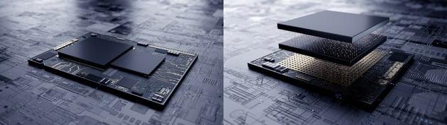삼성전자 7나노 EUV 공정 기반 시스템반도체에 3차원 적층 패키지 기술 'X-Cube(eXtended-Cube)'을 적용한 테스트칩. X-Cube 기술은 로직과 SRAM을 위로 적층해 전체 칩 면적을 줄이면서 고용량 메모리 솔루션을 장착할 수 있어 고객의 설계 자유도를 높일 수 있다는 특징이 있다. 삼성전자 제공.