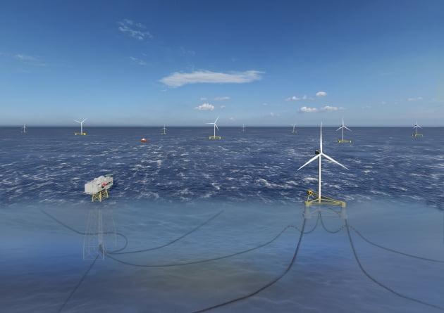한국석유공사가 추진하는 동해 부유식 해상풍력발전사업 조감도. 석유공사 제공