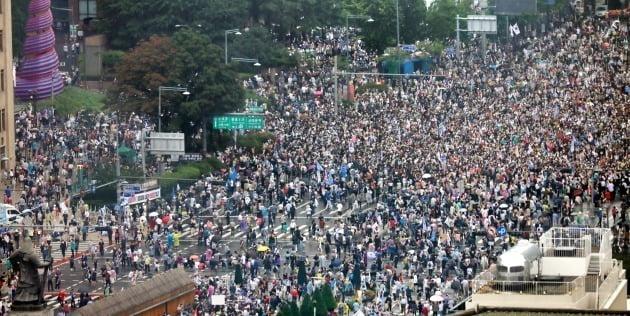 지난 15일 서울 광화문에서 열린 '광복절 집회'에 참석한 보수단체 및 종교단체 회원들. / 사진=뉴스1