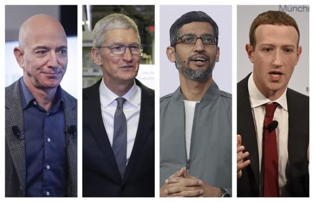 (왼쪽부터) 제프 베이조스 아마존 CEO, 팀 쿡 애플 CEO, 순다르 피차이 구글 CEO, 마크 주크버그 페이스북 CEO/사진=AP