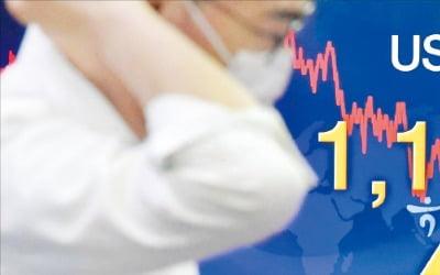 글로벌 시장에서 달러가 약세를 보이고 있지만 지난 6월부터 최근까지 원·달러 환율은 1190~1210원의 '박스권'을 맴돌고 있다. 서울 하나은행 딜링룸 환율 전광판 앞에서 직원이 업무를 보고 있다.  김영우 기자 youngwoo@hankyung.com