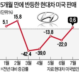 현대차 美 판매…5개월 만에 '전진기어'
