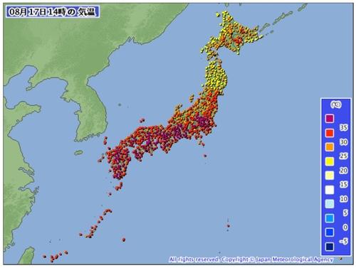 일본 사상 최고 수준 폭염…시즈오카현 하마마쓰 41.1도