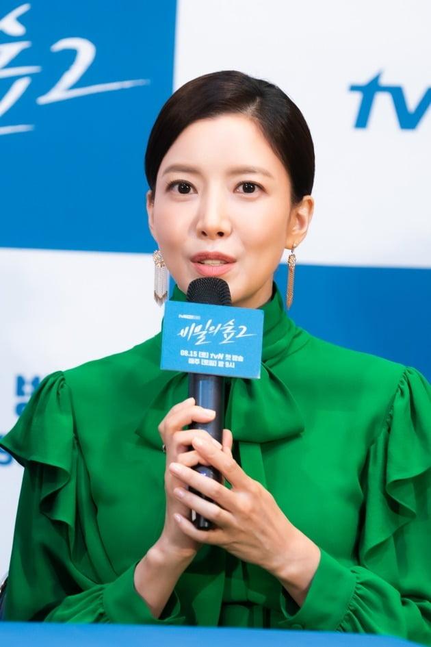 배우 윤세아가 11일 오후 온라인 생중계된 tvN 새 토일드라마 '비밀의 숲2' 제작발표회에 참석했다. /사진제공=tvN