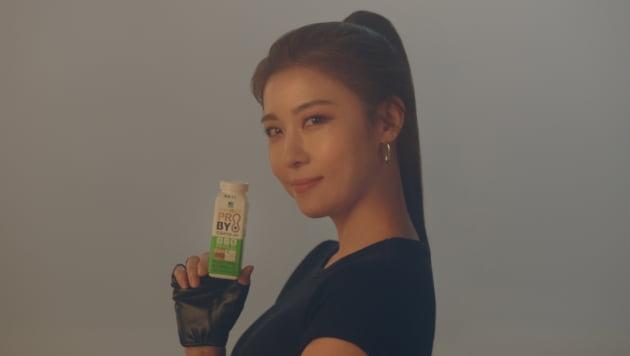 유제품 전문기업 푸르밀의 하지원 광고 영상 스틸컷. /사진제공=푸르밀