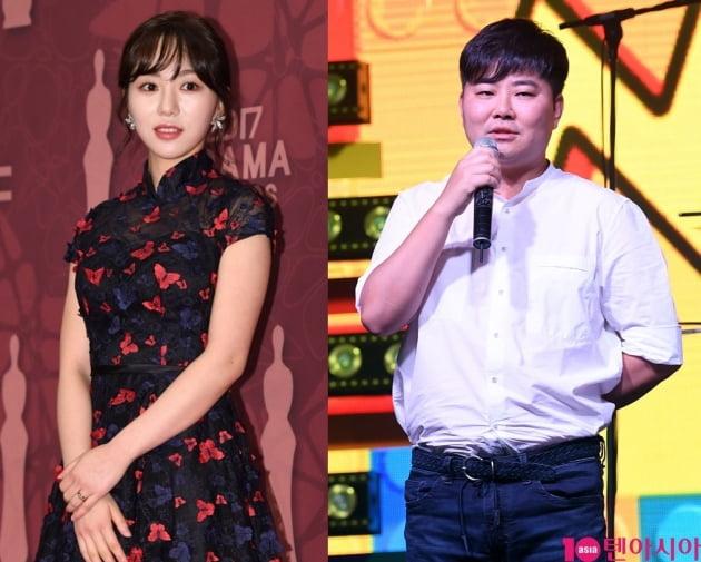 권민아(왼쪽)와 FNC엔터테인먼트 한성호 대표. /텐아시아DB