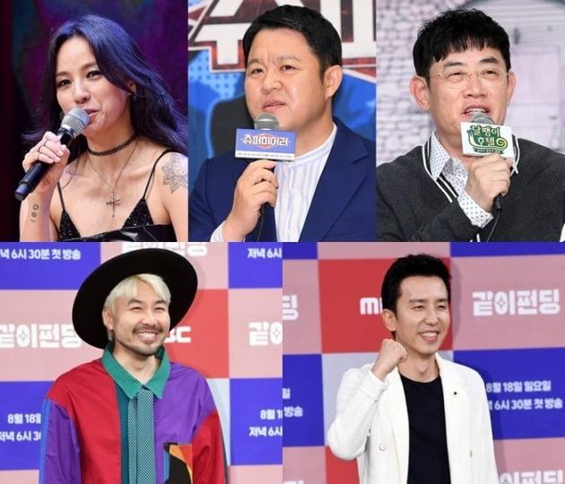 가수 이효리(맨 왼쪽 위부터 시계방향), 김구라, 이경규, 유희열, 노홍철/ 사진=텐아시아DB