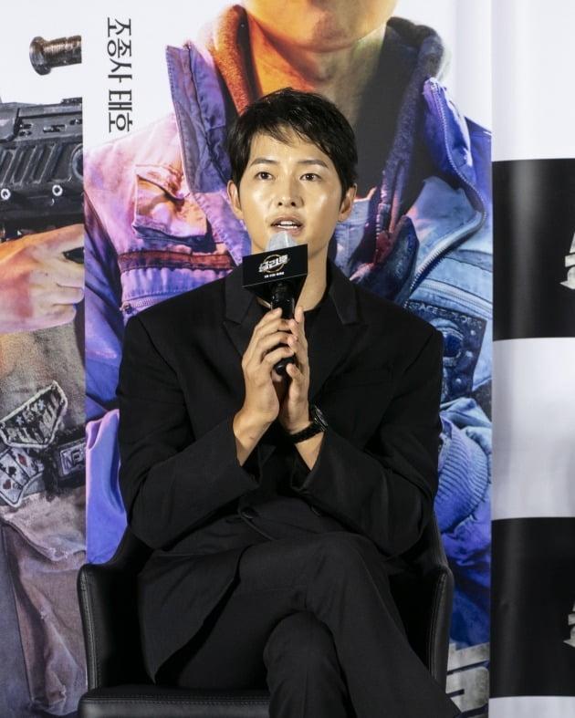 배우 송중기가 영화 '승리호'의 온라인 제작보고회에 참석했다. / 사진제공=메리크리스마스
