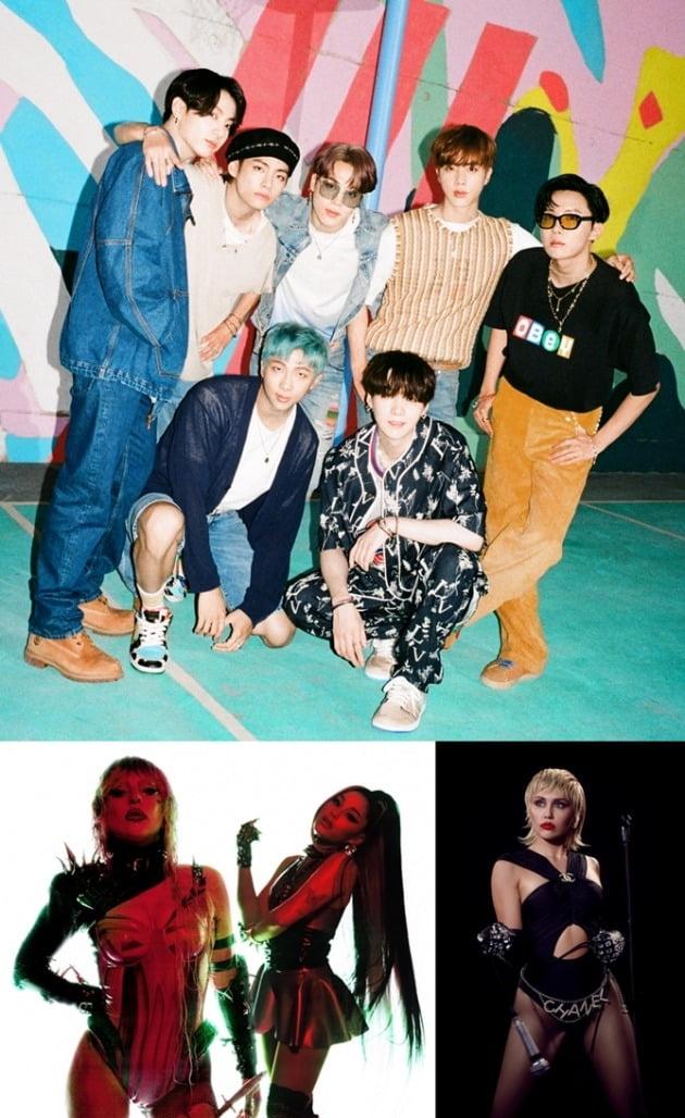 방탄소년단(위부터 시계방향으로), 마일리사이러스, 아리아나그란데, 레이디가가/ 사진=SBS미디어넷 제공