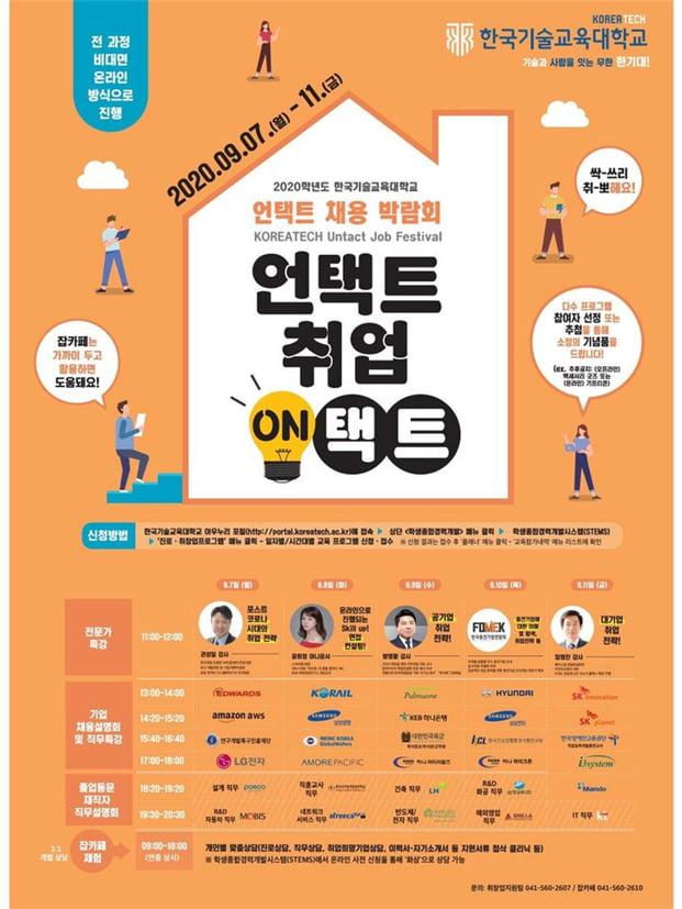 한국기술교육대, 충청권 대학 최초 비대면 채용박람회