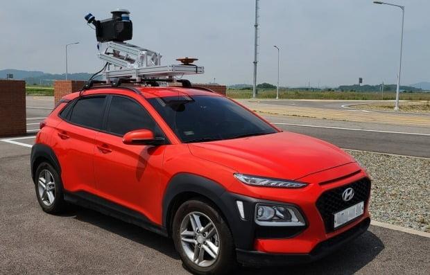 스트리스의 MMS 탑재한 차량이 경기도 화성에 구축된 자율 주행 자동차 실험 도시 케이시티(K-City) 도로를 스캔하는 모습. 사진=스트리스