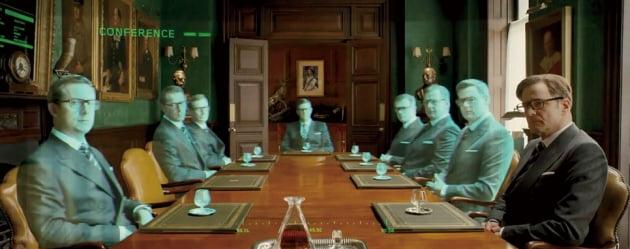 영화 <킹스맨>에서 홀로그램 회의를 하는 장면.