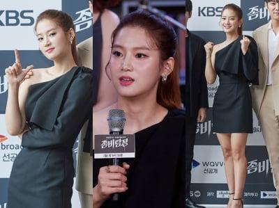 박주현, 한쪽 어깨 드러낸 과감한 드레스