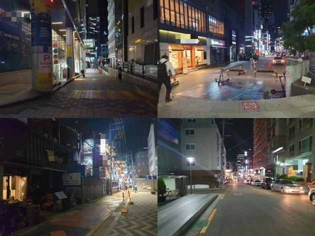 저녁 9시가 되자 강남역 인근 이면 도로는 인적이 끊기다시피 했다. [사진=강경주 한경닷컴 기자]