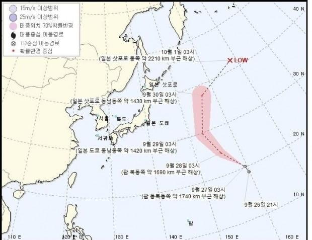 기상청은 제24호 열대저압부(TD)가 이날 오전 3시 기준 괌 동북동쪽 약 1740km 부근 해상에서 시속 23km로 북서진 중이라고 밝혔다./사진=기상청 제공