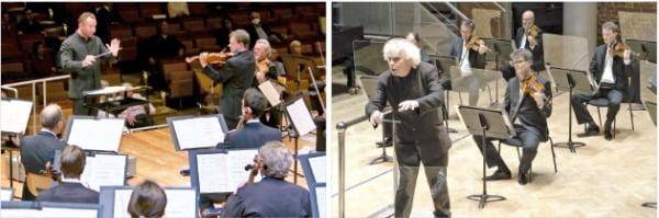 지난 19일 키릴 페트렌코 지휘로 열린 베를린 필하모닉 공연(왼쪽)과 지난 25일 사이먼 래틀이 지휘한 런던 심포니 오케스트라 연주회. 두 공연 모두 온라인 생중계 됐다. 베를린 디지털 콘서트홀·유튜브 캡쳐